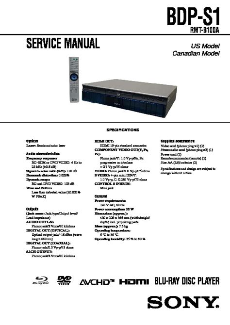 Sony Dvd Service Manuals Free Download