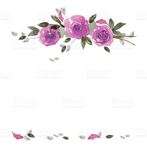 watercolor pattern with purple flowers vector free download cute watercolor flower frame background with purple roses