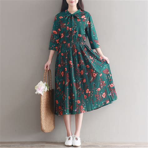 mori style vintage retro green floral dress 2017 new and summer pleated