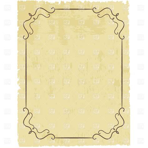 Paper Frames - vintage simple frame on worn sheet of lacerated paper
