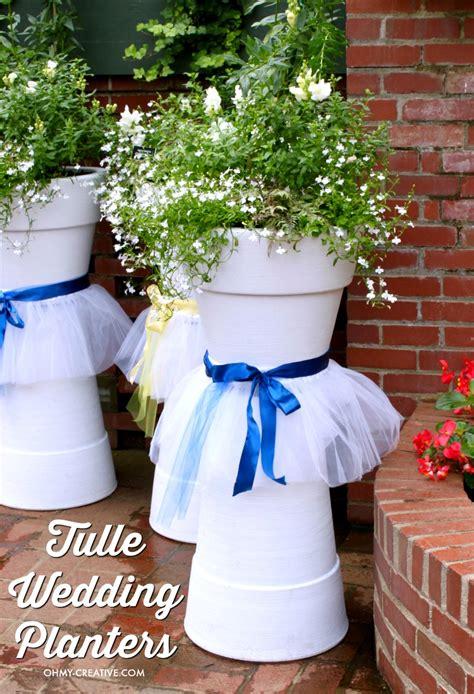 tulle diy wedding flower pots oh creative