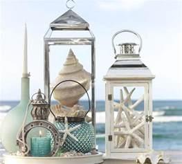 Nautical decor theme seashell candles lantern and home decorations