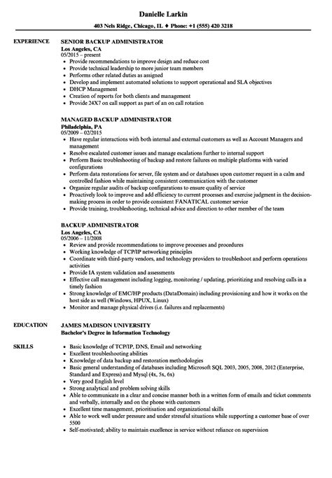 Backup Administrator Sle Resume by Backup Administrator Resume Sles Velvet
