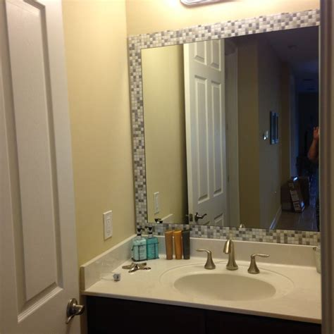 mirror borders bathroom take self adhesive tiles bought from homedepot com and add