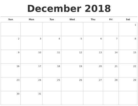 Calendar 2018 January To December January 2019 Calendars To Print