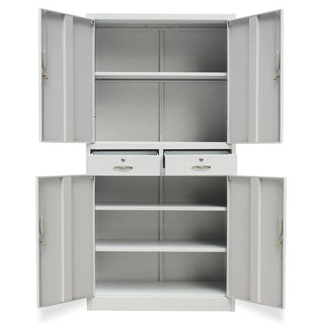 Metal Office Cabinet 4 Doors 2 Drawers Grey   vidaXL.com.au