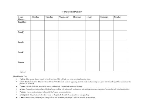 printable meal planner with snacks 6 best images of printable meal planner with snacks 7