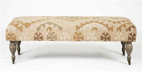 kilim ottoman bench natural beige ivory woven kilim bench ottoman kathy kuo home