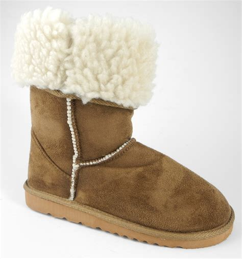 Ids196 Size 11 12 13 by Faux Fur Sheepskin Micro Suede Boots Brown Size