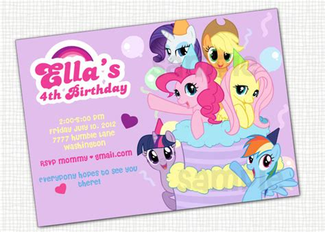 printable birthday invitations my little pony items similar to my little pony invitation printable