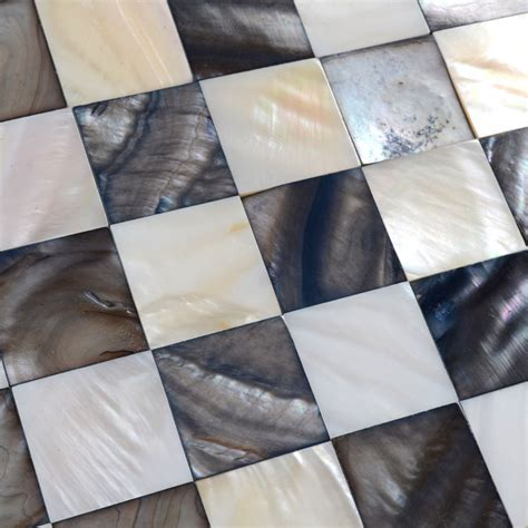Shell Mosaic Tiles Black & White Mother of Pearl Tile
