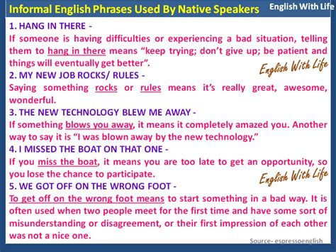 Useful Phrases For Informal informal phrases used by speakers materials for learning