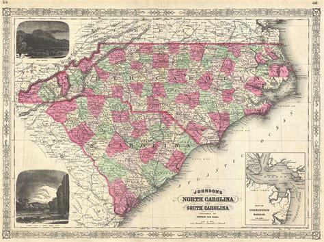 file 1866 johnson map of north carolina and south carolina geographicus carolina johnson