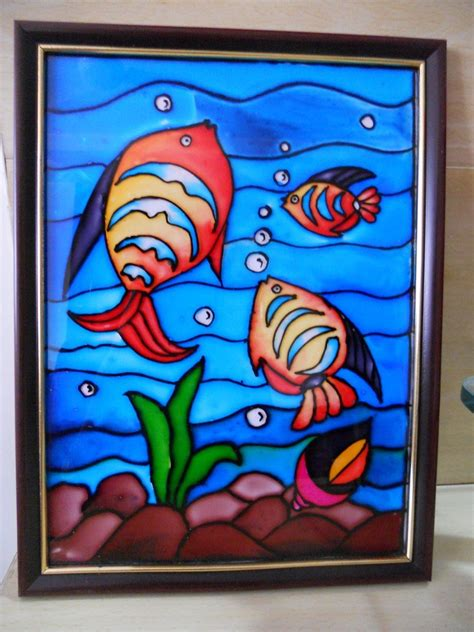 glass painting fishes in pond shopping