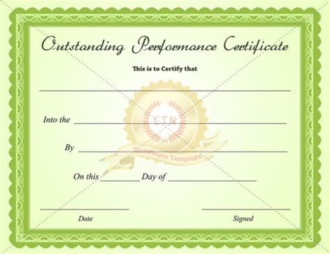 best performance certificate template outstanding performance certificate template