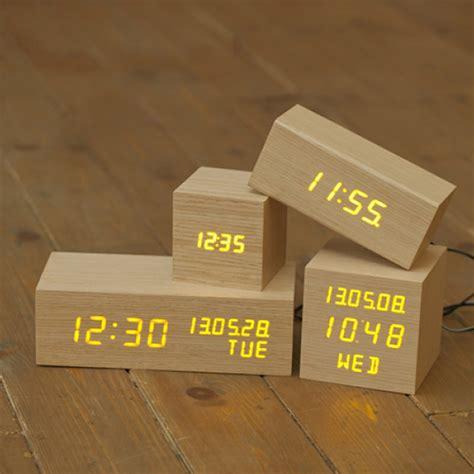 modern digital desk clock modern wooden wood digital orange led alarm clock
