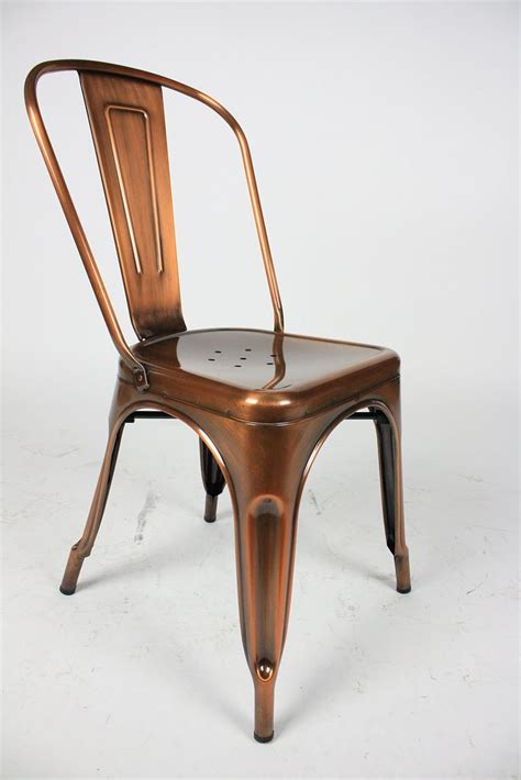 Cafe Style Dining Chairs Marais Style Cafe Dining Chair In Gloss Copper Finish 150 Kitchen Chairs Copper