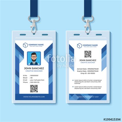 blue id card template quot blue employee id card design template quot stock image and