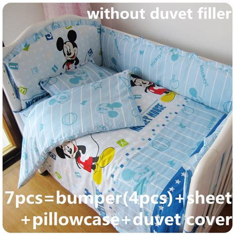 Mickey Mouse Cot Bumper Bedding Sets Discount 6 7pcs Mickey Mouse Baby Bedding Set 100 Cotton Curtain Crib Bumper 120 60 120 70cm