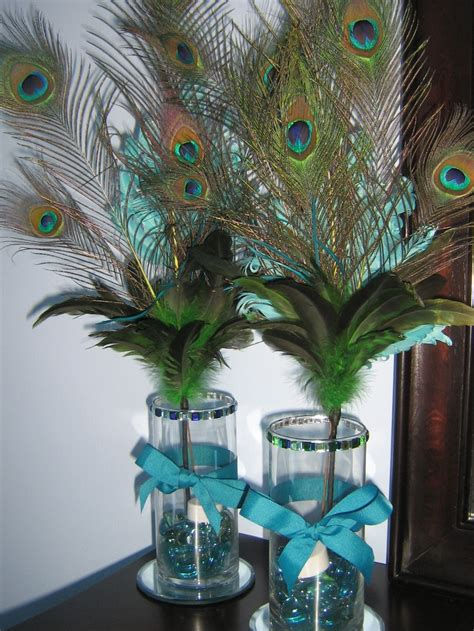 peacock feathers centerpieces peacock centerpieces diy peacock feather centerpieces