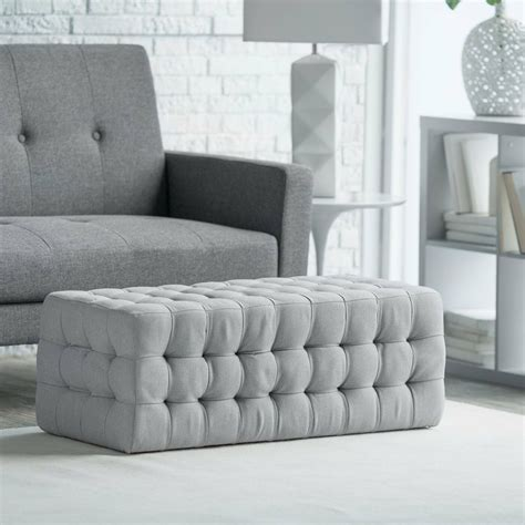 Gray Tufted by Tufted Ottoman Bench Stool Foot Modern Chair Accent Rest