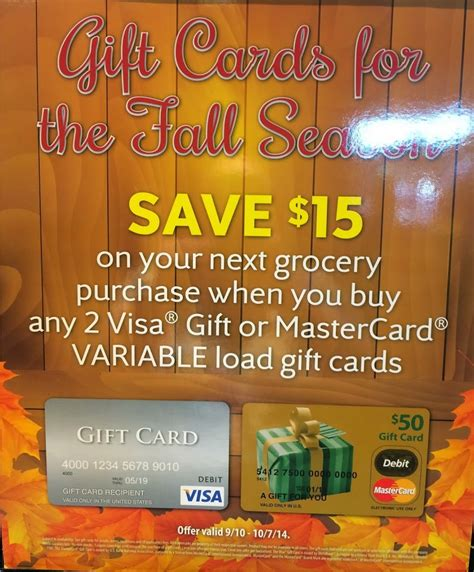 Gift Cards Visa Or Mastercard - safeway deal buy 2 variable load mastercard or visa gift cards and get 15 off your