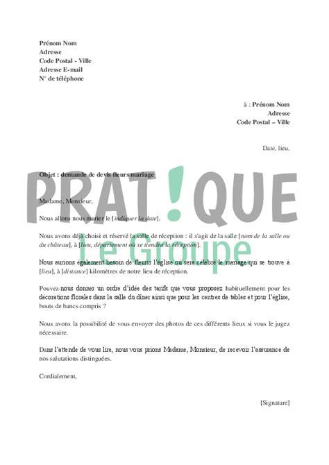 Demande De Prix Lettre demande de devis pour les fleurs de mariage pratique fr