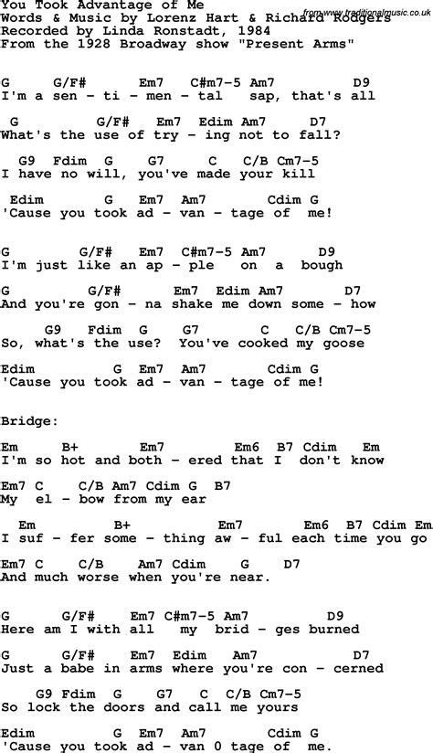 my lyrics ronstadt song lyrics with guitar chords for you took advantage of