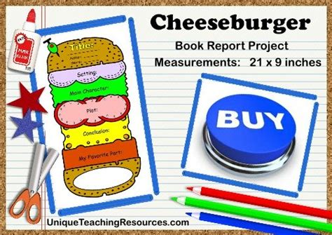 cheeseburger book report cheeseburger book report project templates printable