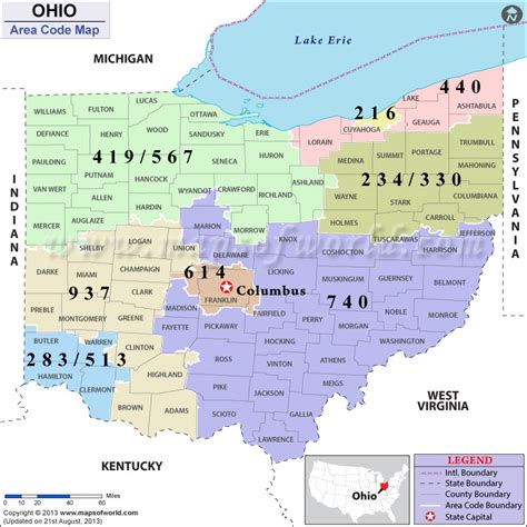 printable map of us area codes ohio area codes map of ohio area codes