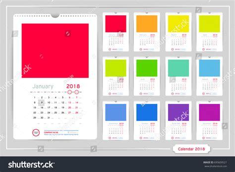 calendar design price monthly calendar year 2018 vector design stock vector