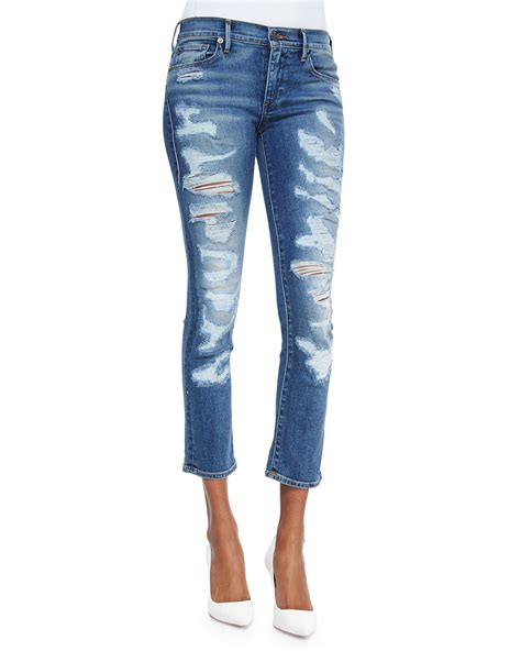 Distressed Denim true religion cora cropped distressed denim in blue