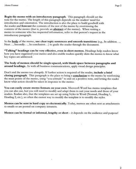 pages memo template free memo format template for pdf page 2