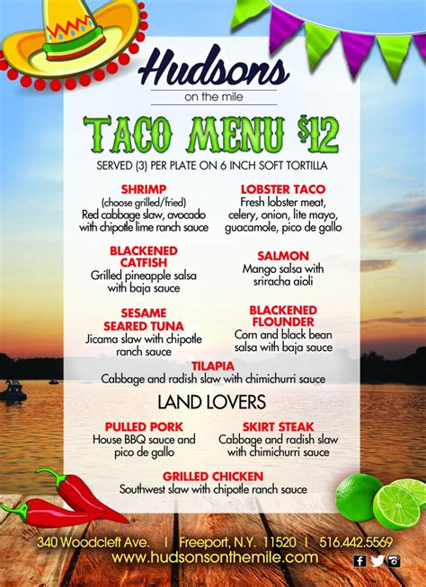taco dinner menu taco menu freeport seafood sushi lunch dinner