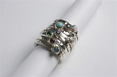 Handmade Jewellery Cornwall - silver stacking ring with gemstone starboard jewellery