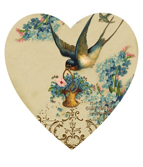 imagenes vintage corazones papirolas coloridas hermozas golondrinas pinterest
