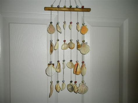 Handmade Chimes - unique handmade sea shell and bead wind chime approx 18 1