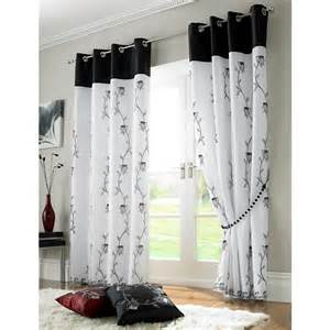 Curtains 56 Length Tahiti Floral Lined Voile Eyelet Ring Top Curtains Black White 56 X 54 30306 From