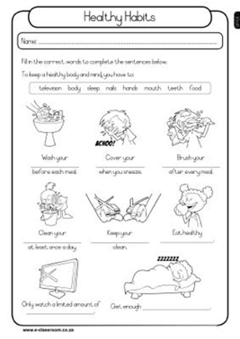 Grade 1 Habits Worksheet Kidschoolz Healthy Habits Grade 1 Worksheet Health Healthy The O Jays And The Bulletin