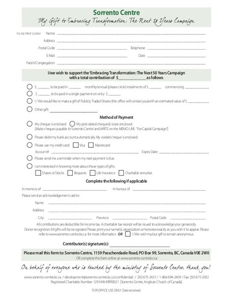Financial Pledge Letter Sorrento Centre Pledge Form For Quot Next 50 Quot Capital Caign