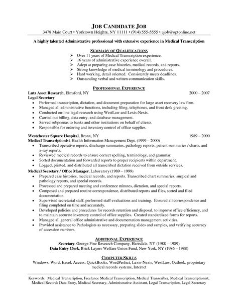 transcriptionist resume sles resume format for transcriptionist resume format
