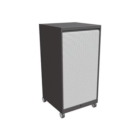 Garage Cabinets On Casters Izzy Design Calvin Tambour Door Storage Cabinet With Casters