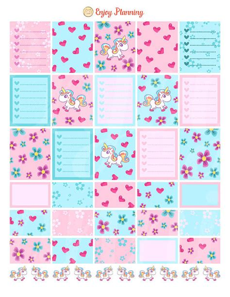 printable planner checklist stickers unicorns planner stickers printable unicorns stickers weekly