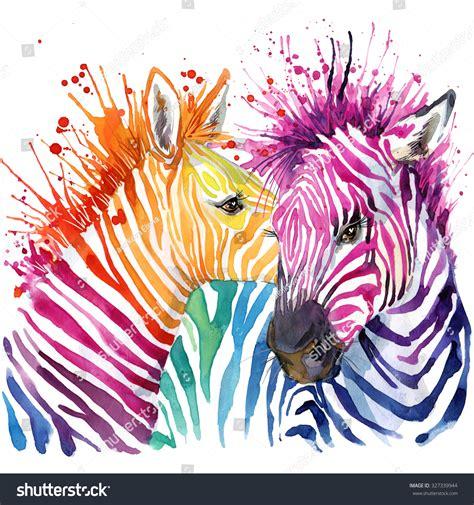 zebra fashion illustration zebra tshirt graphics rainbow zebra stock illustration 327339944
