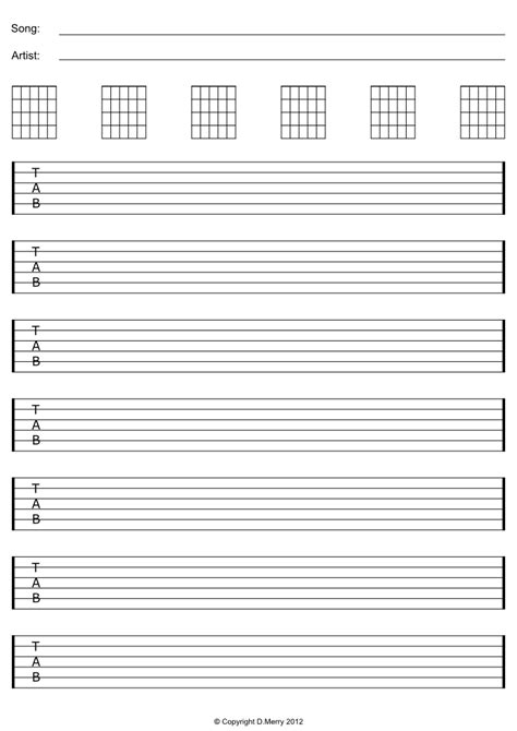 guitar tab template blank sheet a1sites