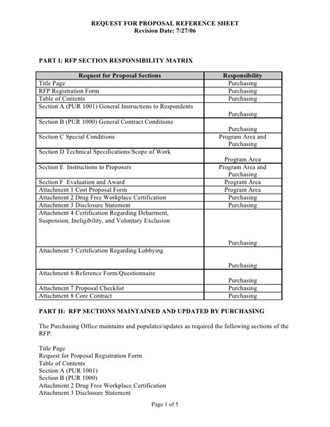 Sle Rfp Reference Sheet And Scope Of Work Template Exle Of Scope Of Work Template