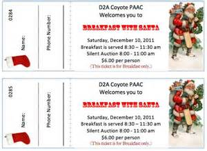 Pancake Breakfast Ticket Template by Ticket Templates For A Breakfast With Santa Event
