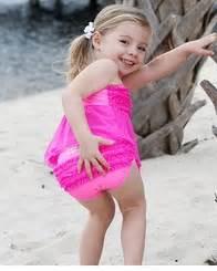 Little girls fancy pink mesh tankini