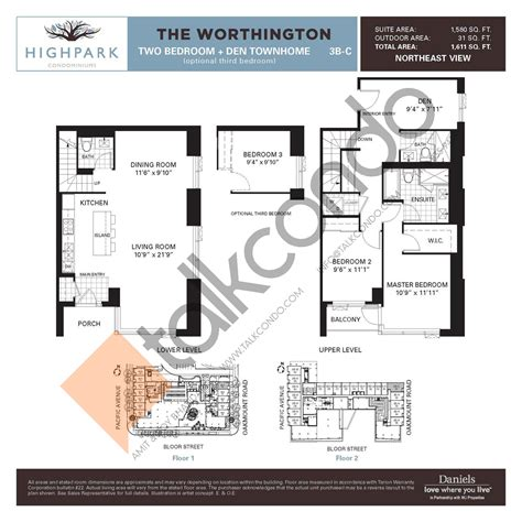 daniels high park floor plans highpark condos talkcondo