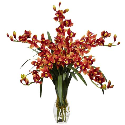 cymbidium orchid silk flower arrangement 1184 nearly natural